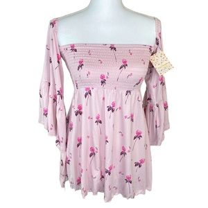 Pink Gypsy Blouse Cold Shoulder Free People New